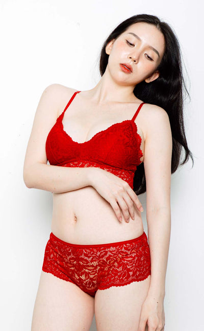 Annecy • Modal Bralette Set (Red) - Celessa Soft Clothing