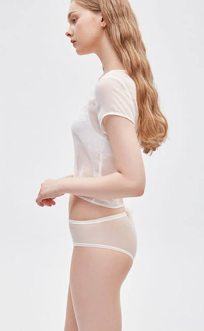White Wedding • Mid Rise Sexy Mesh Bowknot Hipster Panty - Celessa Soft Clothing