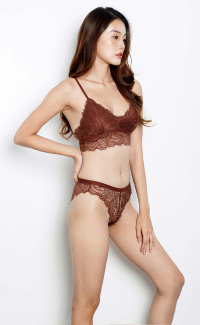 Eva • Modal Bralette Set (Brown) - Celessa Soft Clothing