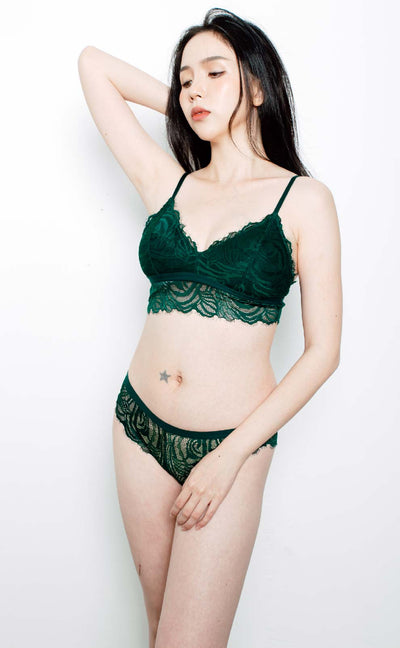 Eva • Modal Bralette Set (Dark Green) - Celessa Soft Clothing