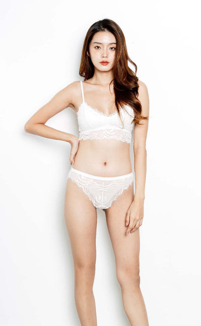 Eva • Modal Bralette Set (White) - Celessa Soft Clothing