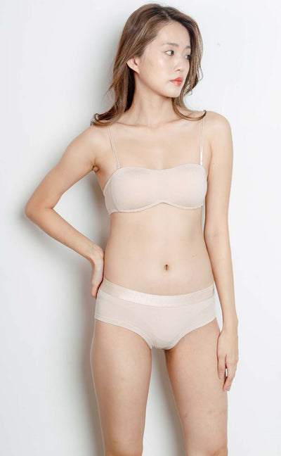 Summer Dairy • Modal Strapless Bra Set (Skin) - Celessa Soft Clothing