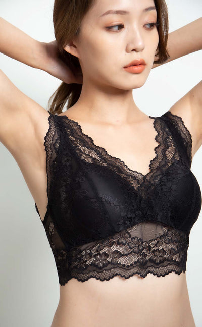Seine • Double V Lace Bralette (Classic Black) - Celessa Soft Clothing