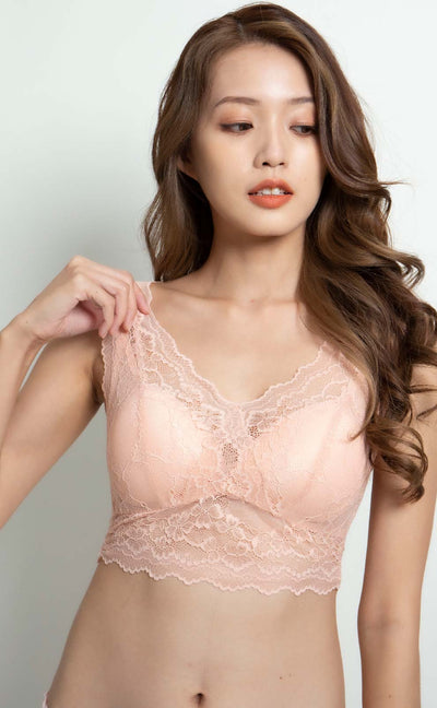 Seine • Double V Lace Bralette (Light Coral) - Celessa Soft Clothing