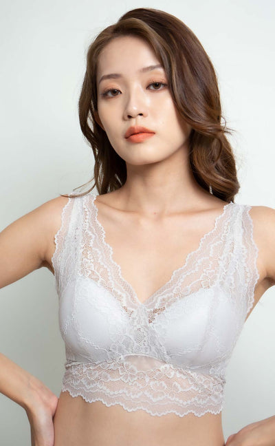 Seine • Double V Lace Bralette (Silver) - Celessa Soft Clothing