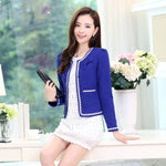 Candy Colors Women Blazer Cardigans No Button Bow Decoration Short Blazer Short Coat Long Sleeve Cape Jacket Outwear C91092