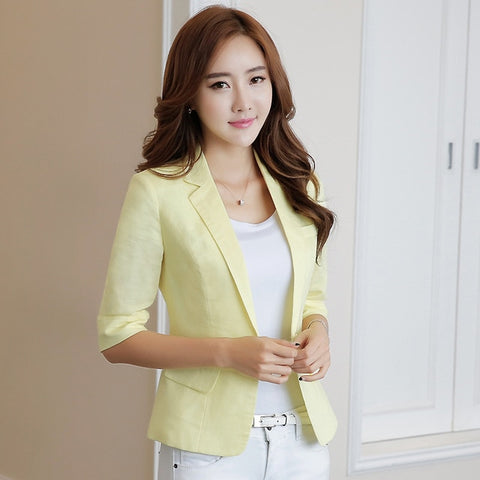 Women's suit jacket summer new style fashion white seven-point sleeve office ladies casual suit short paragraph cotton blazer