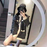 Elegant Women Knit Sweater Cardigans Retro O-neck Single-breasted Pink White Plaid Long Open Stitch Loose Winter Knit Jacket