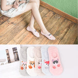 5 Pairs Lot Cotton Women Socks Female Casual Boat 3D Pack Cartoon Harajuku Unicron Cat Cute Invisiable Funny Girl Ankle Sock Set