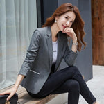 Women's Formal Blazers Suit Jacket Female 2020 Spring Autumn New Korean Temperament Long Sleeve Coat Top OL Ladies Short Blazer