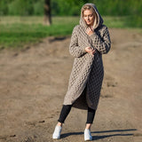 Fall and Winter 2020 Casual Solid Gray Cardigan Women Hooded Long Knitted Coats Female Oversized Plus Size Overcoats Outwear