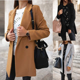 New 2020 Autumn Winter Solid Color Long Sleeve Double-Row Button Suit Collar Woolen Coat Female Casual Loose Plus Size S-5XL Top