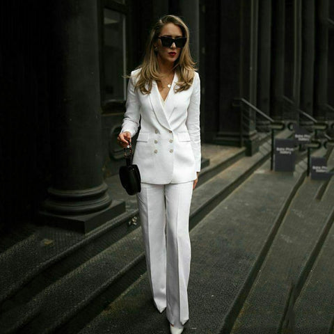 Womens White Formal Pant Suits for Women Office Ladies Double Breasted Blazer Pants Women's Work Pant suit costume homme