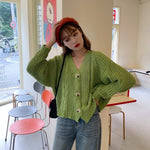 Women Cardigan Short Autumn Spring Single Button Long Sleeve Fashion European Small Sweaters Female Tops LS016