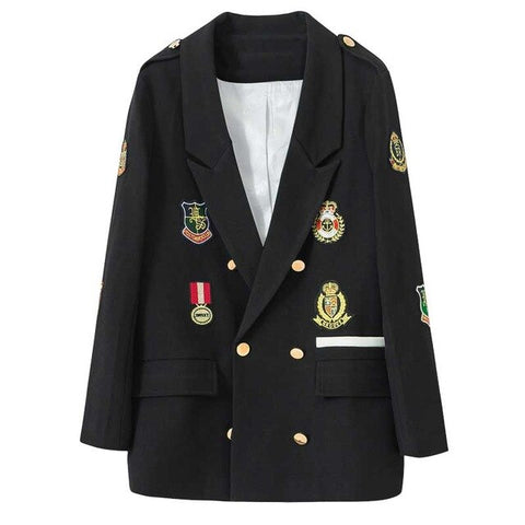 2020 New Spring And Autumn Casual Black Suit Women Blazers  Mid-Length Medal Embroidery Clothing Lady