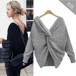 6 Colors V Neck Beauty Back Sweater Women 2020 Autumn Winter Knitted Sweater Pullover Womens Jumper Pull Femme Loose Sweater