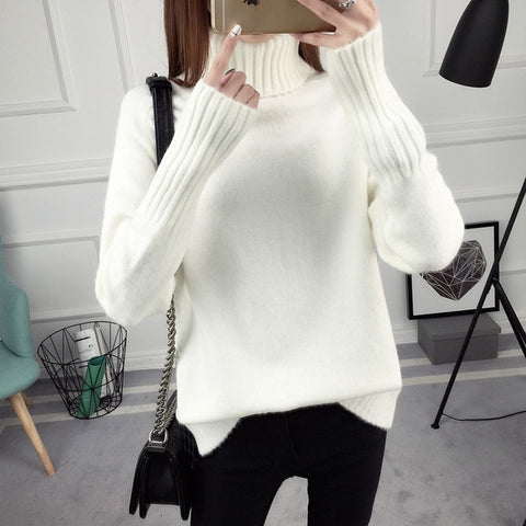 2020 autumn and winter new loose high neck pullover sweater women's long-sleeved versatile bottoming sweater plus velvet