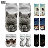 New 3D Print Funny Cute Cartoon Kitten Unisex Short Socks Creative Colorful Multiple Cat Face Happy Low Ankle Socks For Women