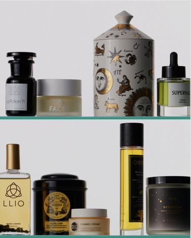 An image of cosmetics on glass shelves, including LLIO's bath and body oil. This image is from LLIO's feature in Vogue Paris