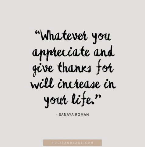 """Whatever you appreciate and give thanks for will increase in your life"""