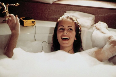 "Scene from the film ""Pretty Woman"" of the main actress Julia Roberts, listening to music in the bath"