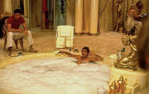 "Scene from the movie ""Scarface"" where the main actor Al Pacino is in the bath"