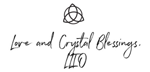 "Script text ""love and crystal blessings"""