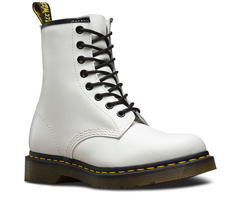 White Smooth Dr. Marten 8 Eye Boots with 1460