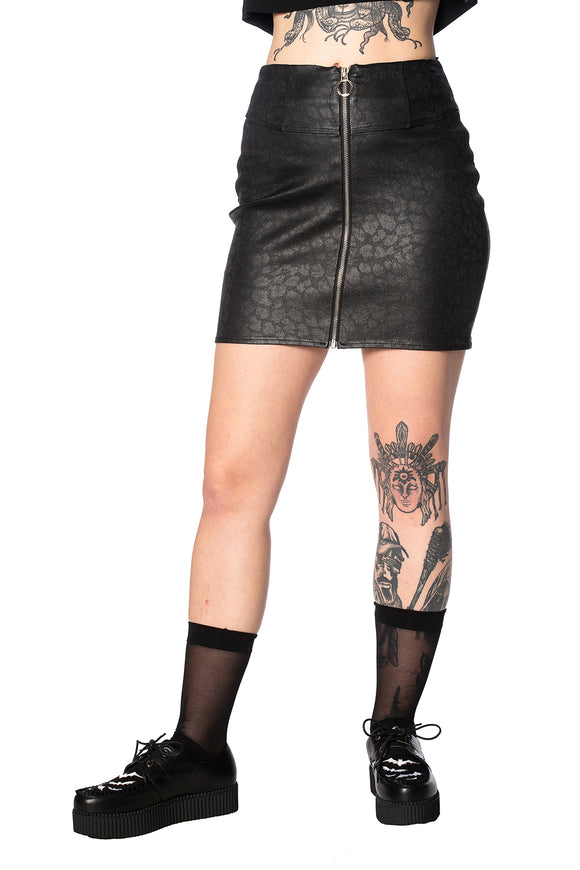 Jett Black Leopard Mini Zip Skirt