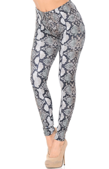 Brushed Light Gray Python Snakeskin Leggings