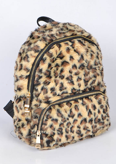Fuzzy Leopard Back Pack