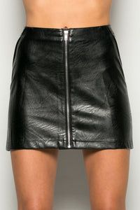 Black Zipper Front Mini Skirt
