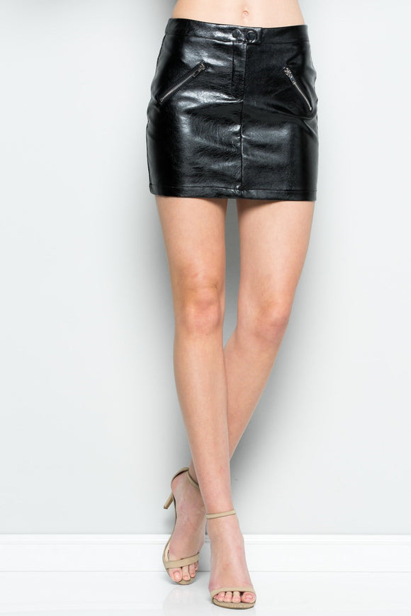 Rebel Yell Black Double Zipper Vinyl Skirt
