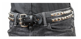 Double Strapped Pyramid Stud Leather Belt