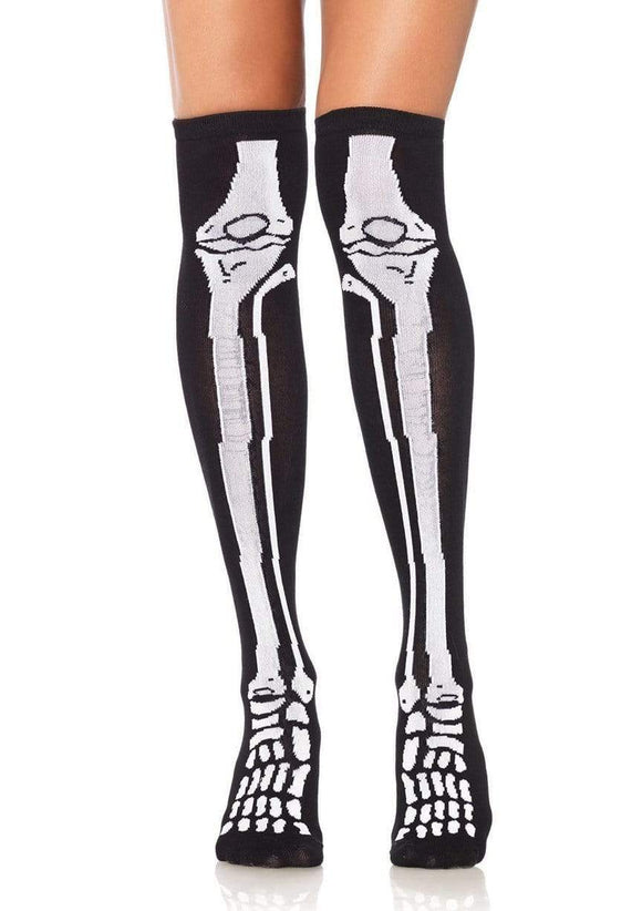 Skeleton Bone Over the Knee Socks