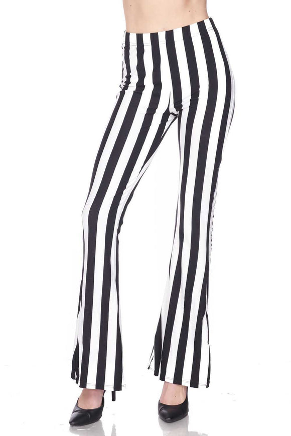 Black & White Striped Bell Bottom Leggings