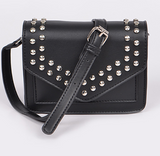 Black Studded Envelope Shoulder Bag