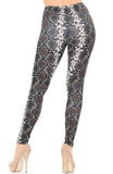 Brushed Brown Boa Snakeskin Leggings