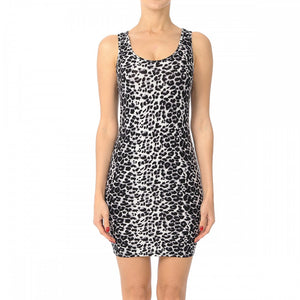 Gray Leopard Racer Back Bodycon Dress