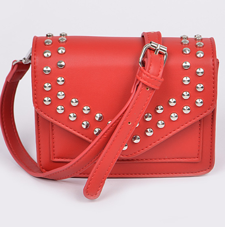 Red Studded Envelope Shoulder Bag