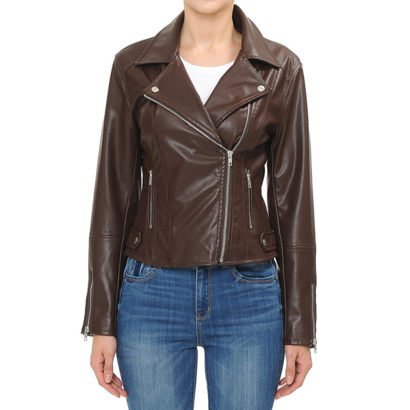 Brown Fitted Biker Jacket