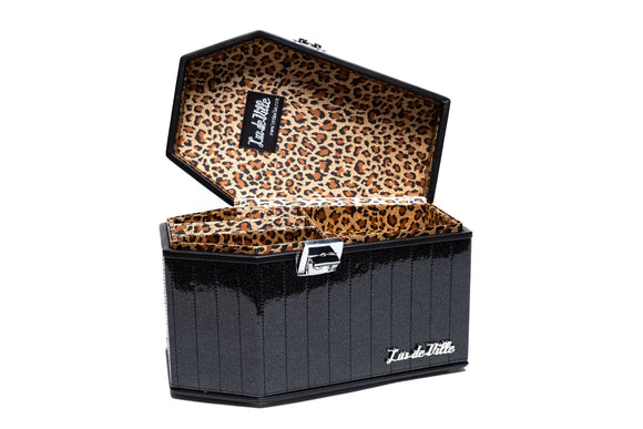 Midnight Black Sparkle Deville Coffin Vanity Case