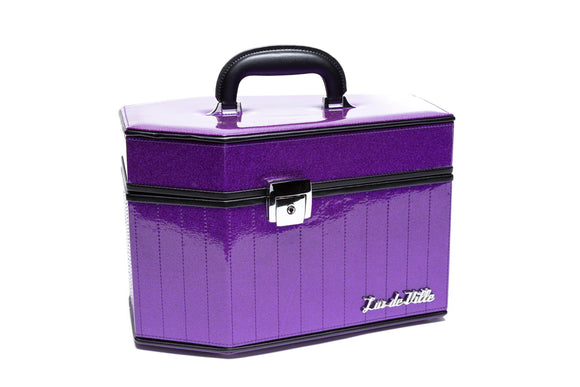 Poisonous Purple Sparkle Deville Coffin Vanity Case