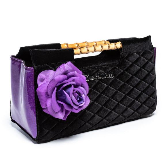 Paradise Clutch Black & Poisonous Purple Sparkle