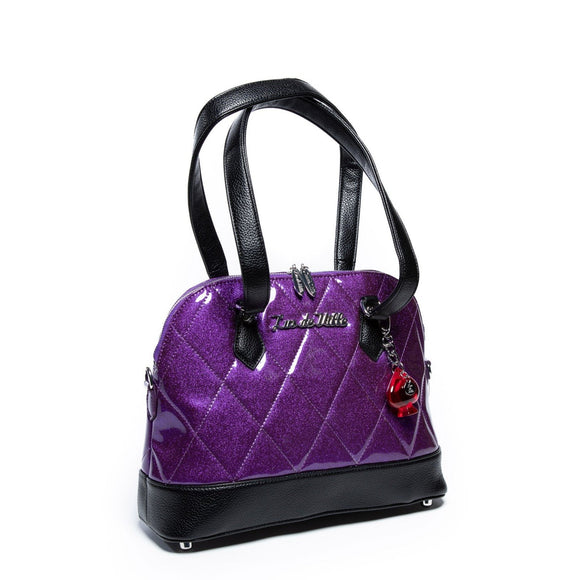 Trixie Tote Black & Poisonous Purple Sparkle