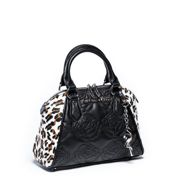 Leopard & Black Matte Mini Shotzy Rose Tote