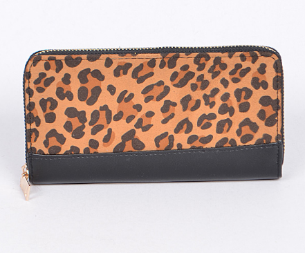 Zip Around Leopard & Black Clutch Wallet