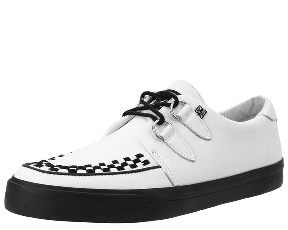 White Leather D-Ring VLK Creeper Sneaker - DeadRockers