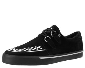 Black Suede White Interlace VLK Creeper Sneaker