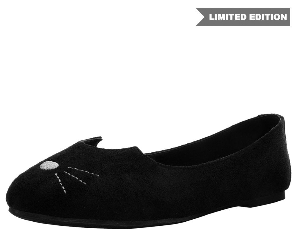 Black Faux Suede Sophistakitty Squish Flat (Vegan)
